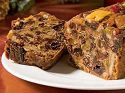 slice of bourbon fruitcake